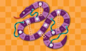 Snake and ladders board game