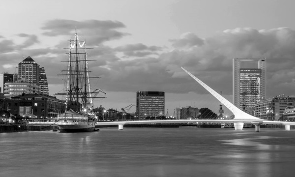 Puerto Madero bridge and ship