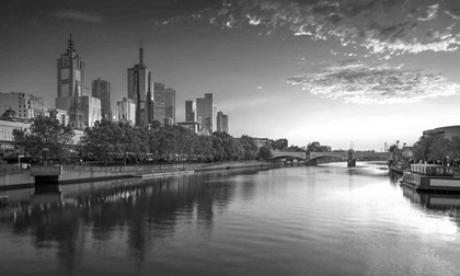 Cityscape image of Melbourne, Australia during summer sunrise.