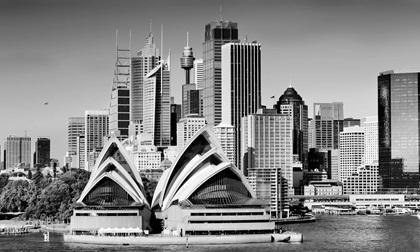 Sydney Opera House with city skyline