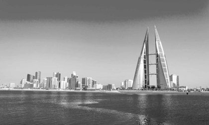 Skyline view of Bahrain World Trade Centre building