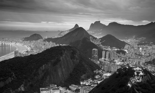 Aerial view of city and mountain in Rio de Janeiro