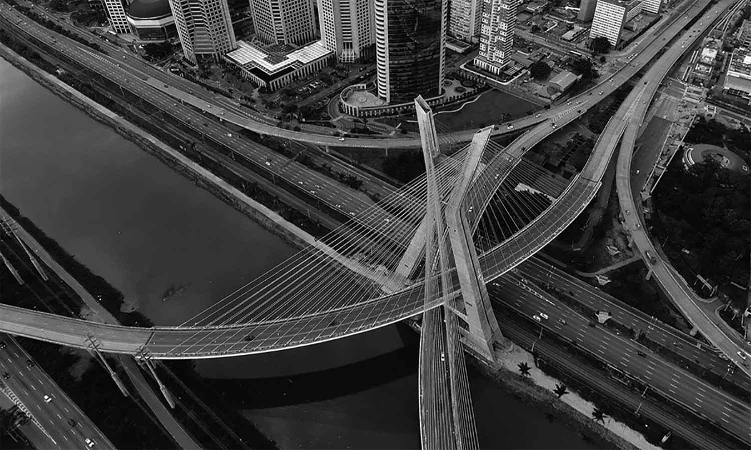 Aerial view of the most famous bridge in the city of Sao Paulo