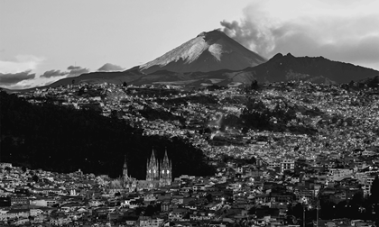 Cotopaxi volcano eruption seen from Quito, Ecuador