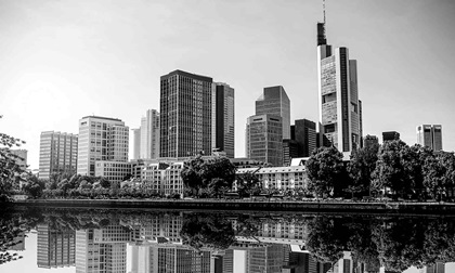 View of the financial district from across the river in Frankfurt, Germany