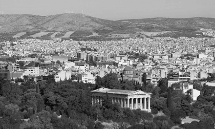 Black and white view of Athens city with the Temple of Hephaestus, Greece