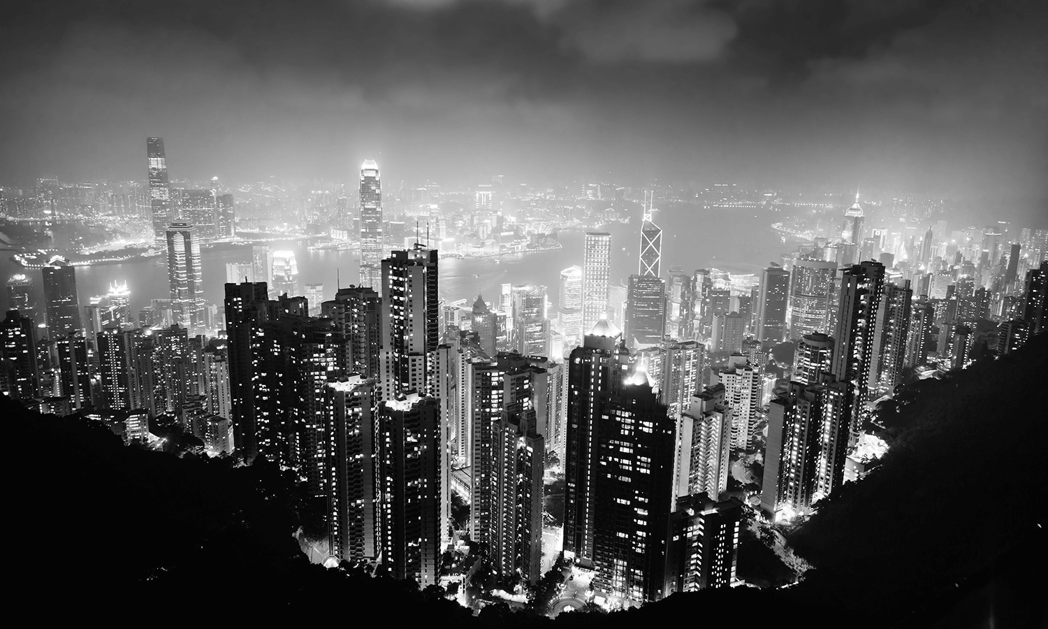 View of both islands in Hong Kong from the mountains