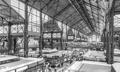 Interiors of Central Market Hall of Budapest, Hungary, black and white