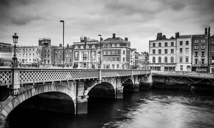 Grattan Bridge over the River Liffey in Dublin Ireland, black and white