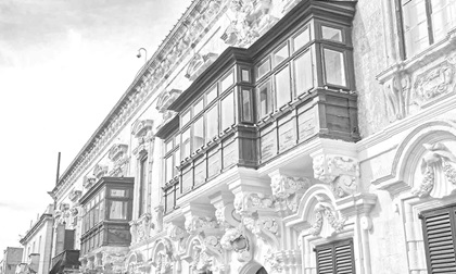 Traditional balcony in Valletta, Malta, black and white