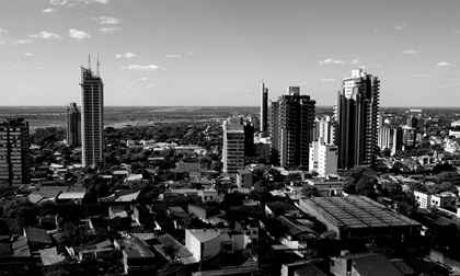 Panoramic view of skyscrapers skyline of Paraguay City