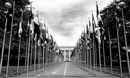 entrance of united nation with national flags in geneva