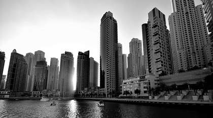 view of dubai marina sunrise