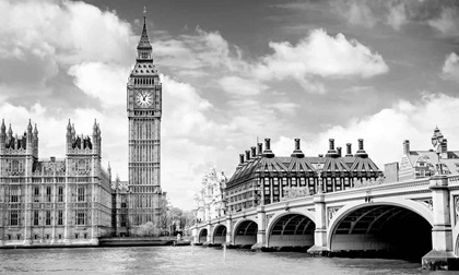 big ben and westminster bridge on river thames in london
