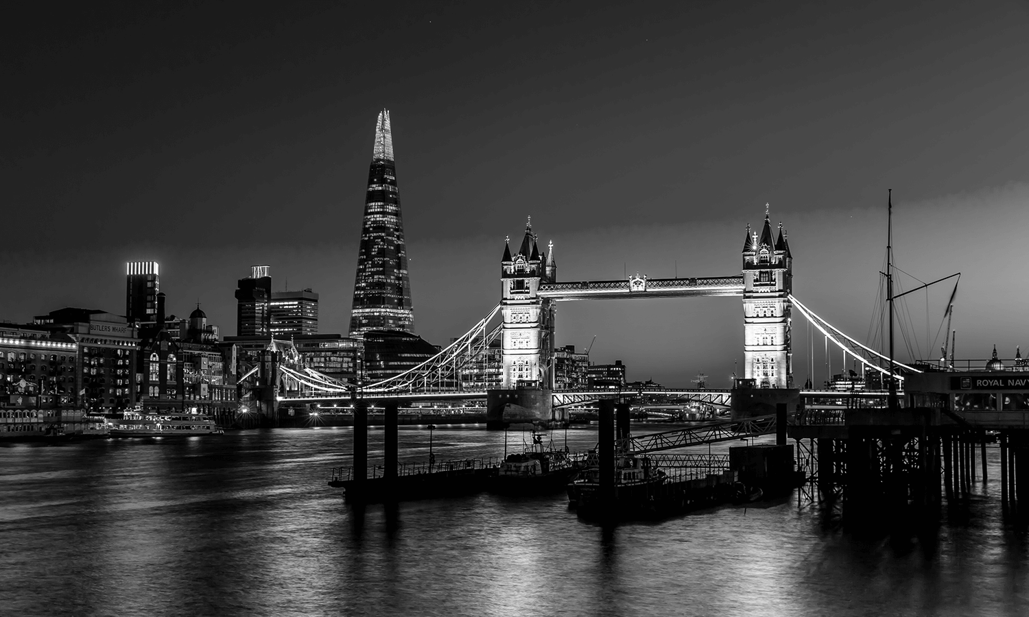 View of the shard and tower bridge from the Thames