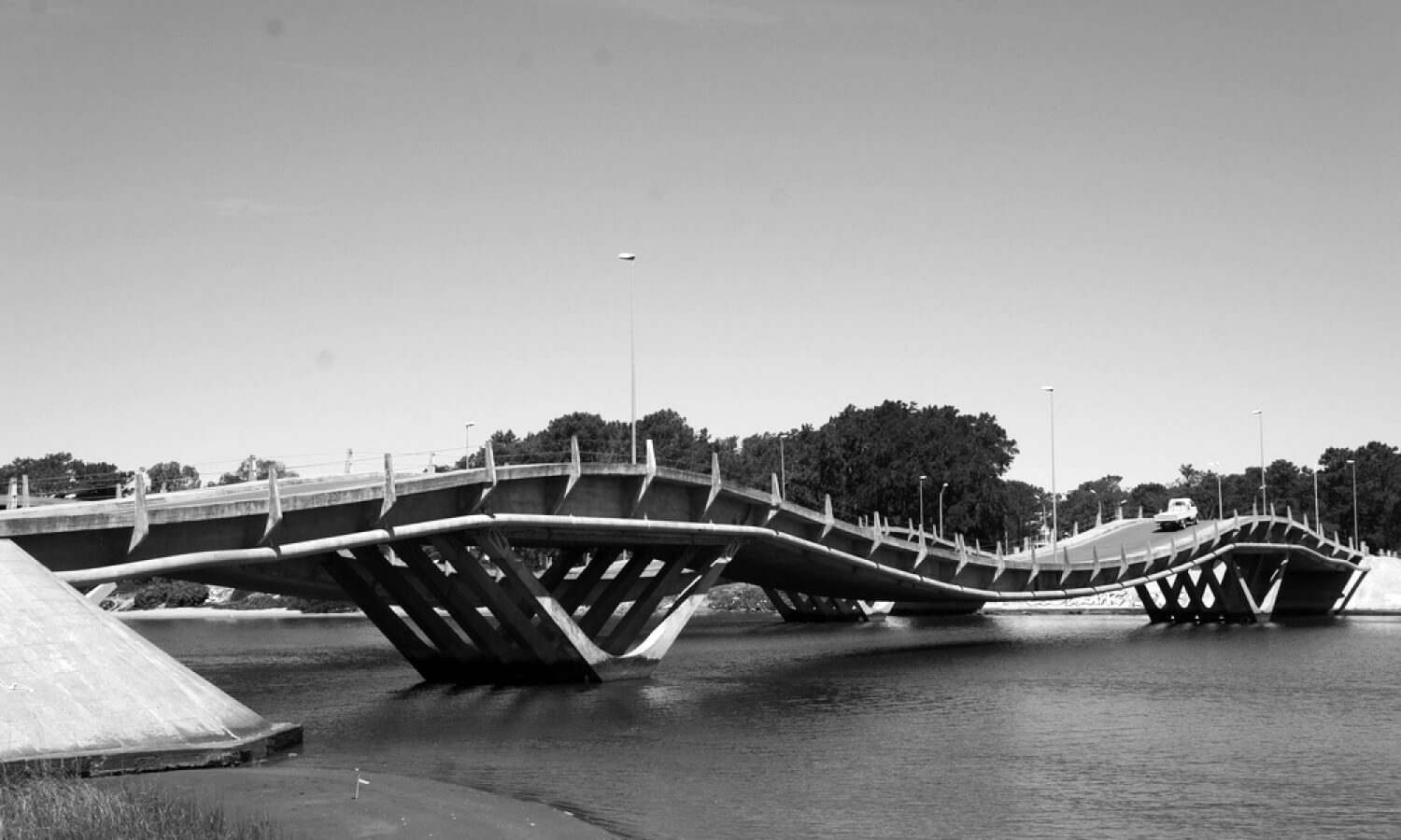 Wave form bridge in Punta del Este Uruguay