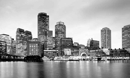 Financial district skyline and harbour in Boston