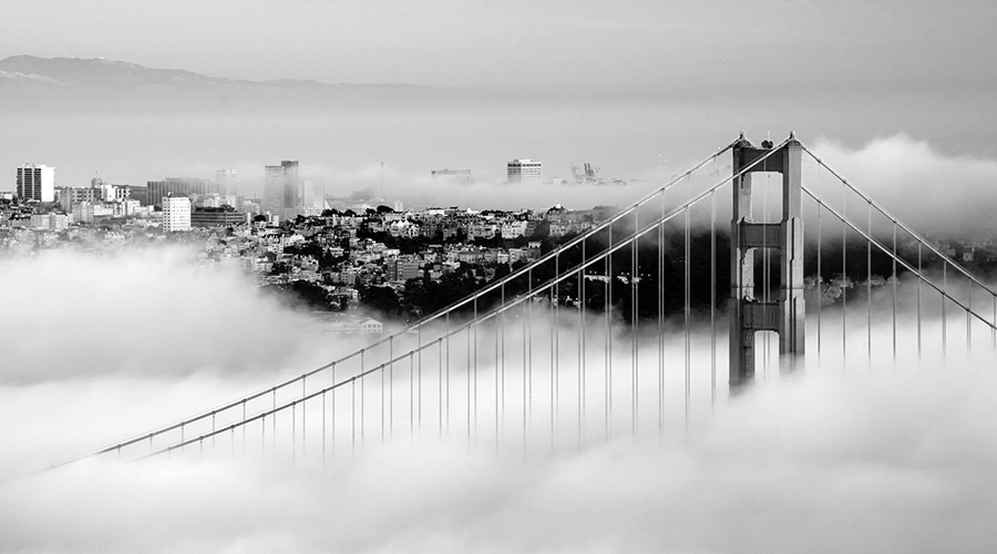 golden gate bridge shrouded in cloud