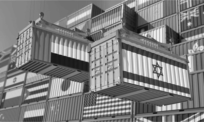 Freight containers with United Arab Emirates and Israel flag