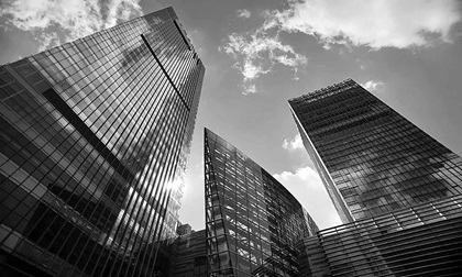 Modern architecture office building silhouettes of skyscrapers