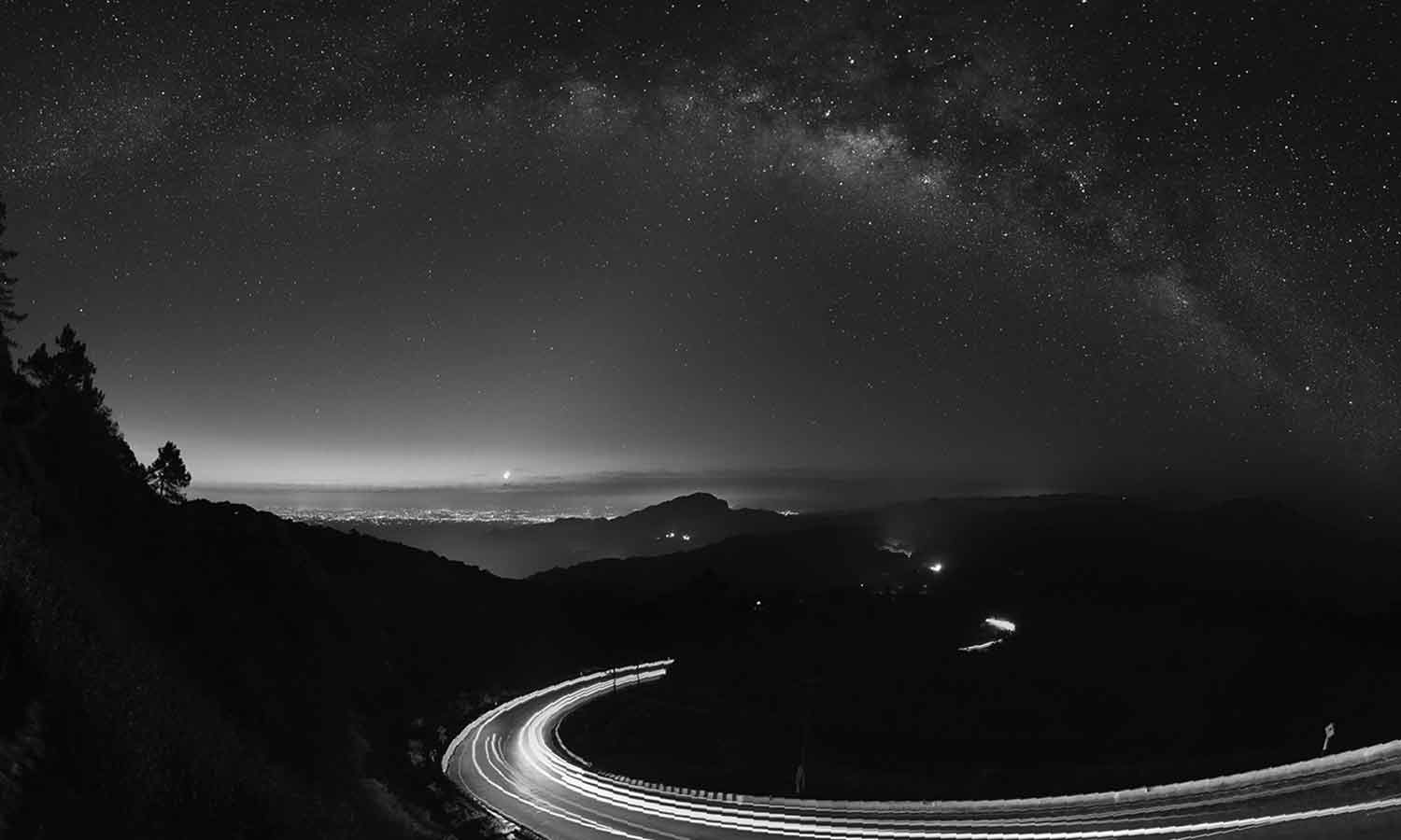 winding road with stars