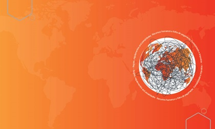 Red and orange background with global world