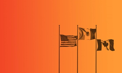 red and orange faded background with the canadian, mexican and american flags