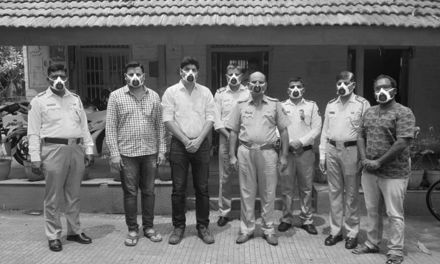 Group of man in India wearing mask