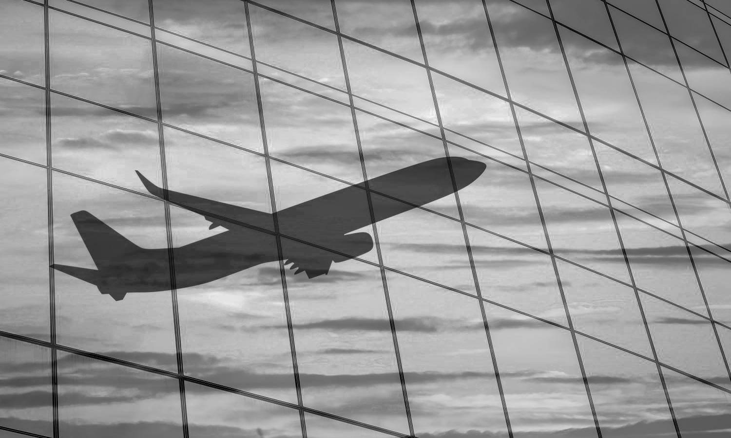 plane reflection office building