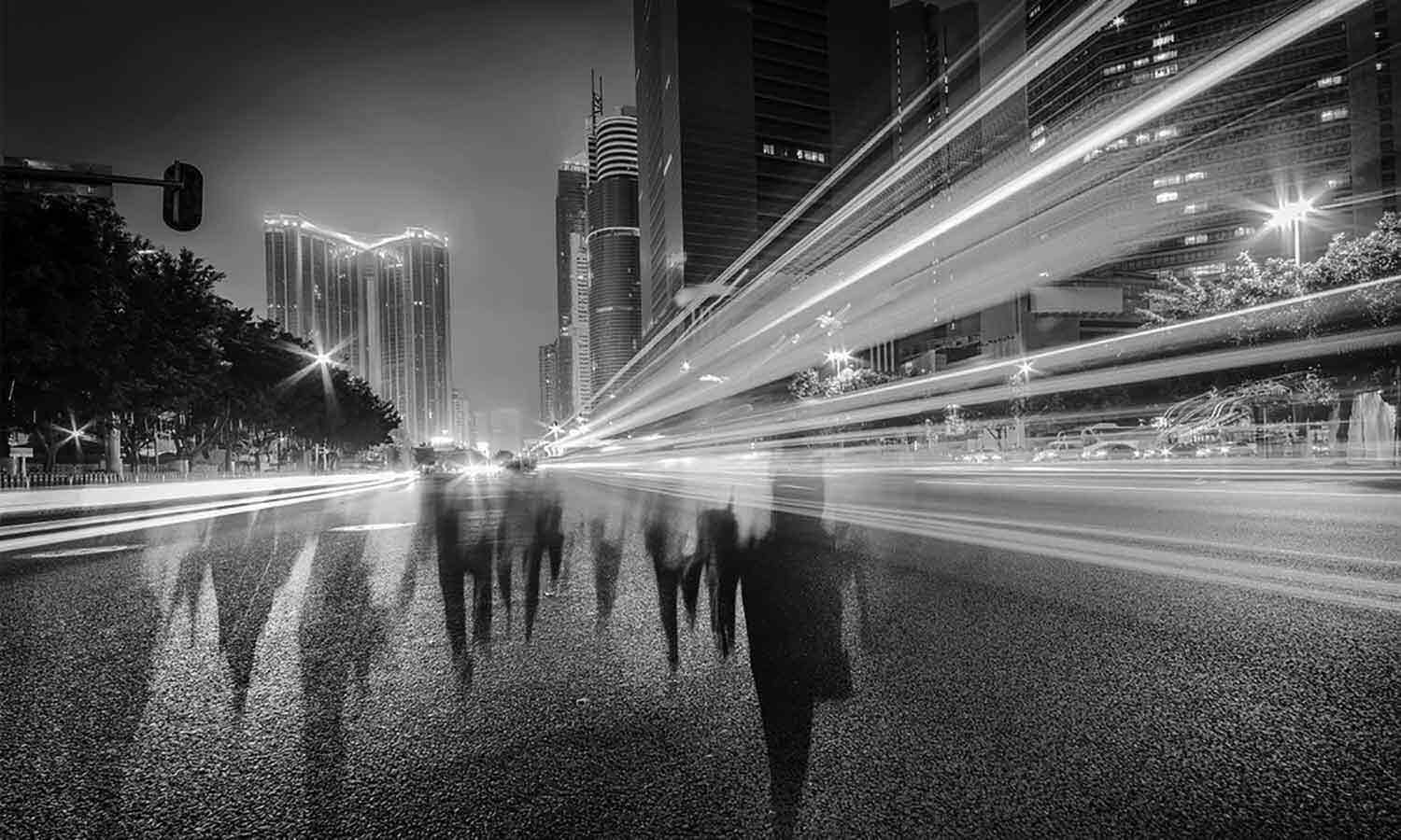 long exposure cityscape with people