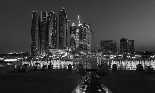 Skyscrapers in Abu Dhabi at dusk, United Arab Emirates