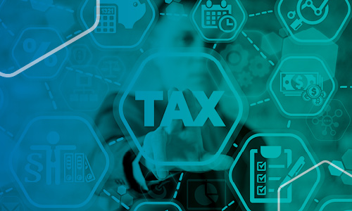 Tax banner with blue overlay