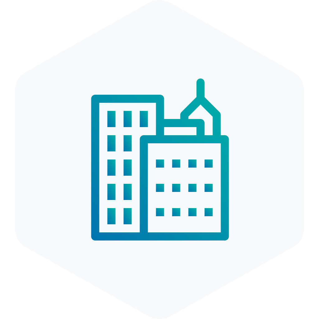blue icon of buildings on a grey hexagon
