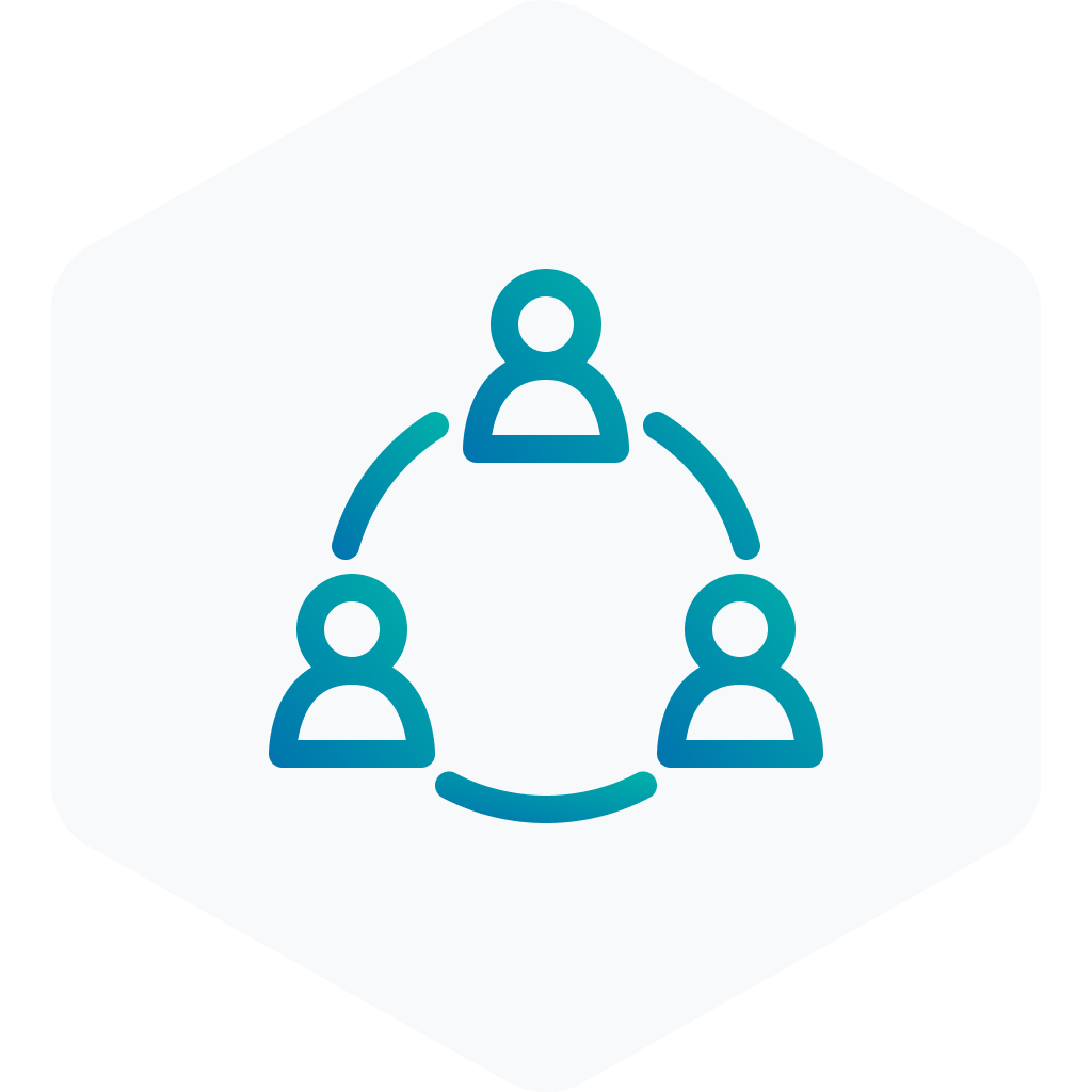blue icon of group work on a grey hexagon