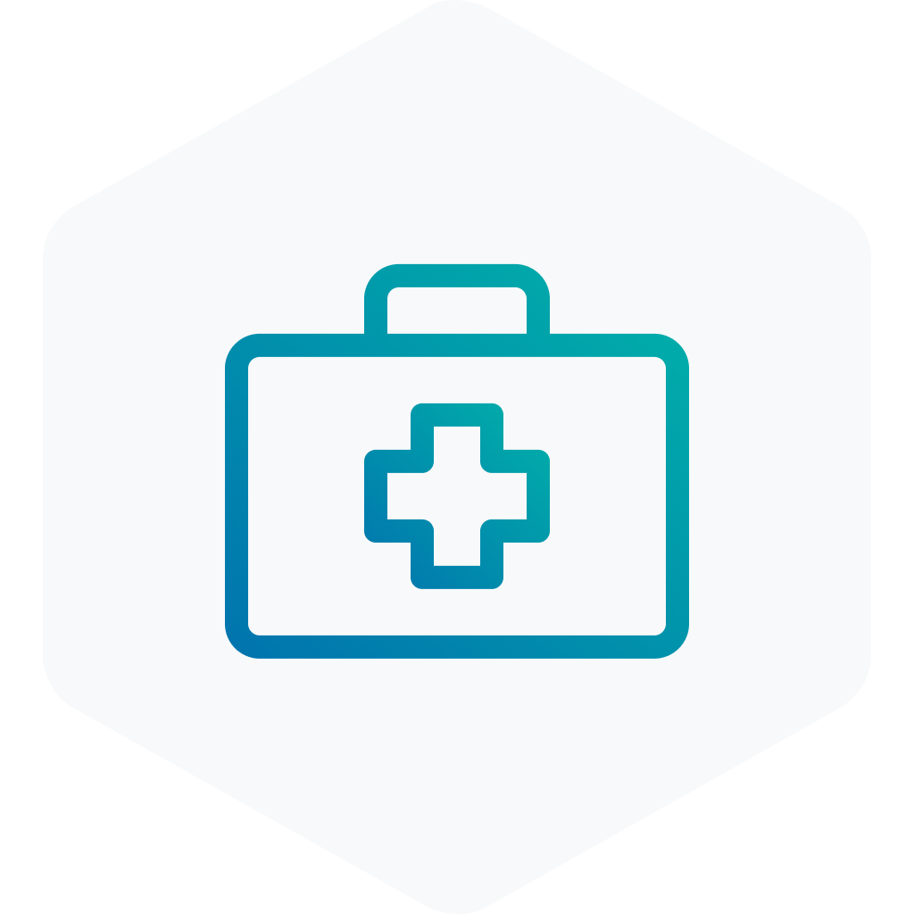 blue icon of a first aid kit on a grey hexagon