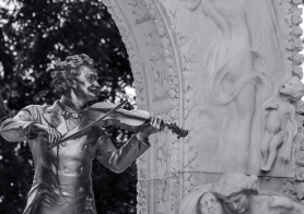 Close up of the johann strauss monument in Vienna's city park