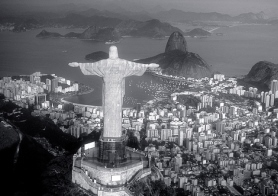 Rio de Janeiro, RJ, Brazil: Aerial view of Christ, symbol of Rio de Janeiro, standing on top of Corcovado Hill, overlooking Guanabara Bay