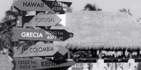 Signposts showing different country names