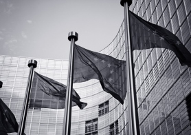 European flag outside EU commission