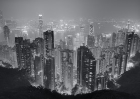 Night view of Hong Kong skyscapers