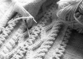 Knitting needles mid knitting
