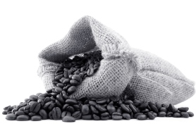 Coffee beans spilling from jute sack