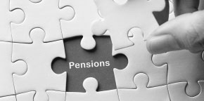 Puzzle with a piece missing displaying the word pensions