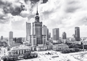 Warsaw, Poland. Aerial view Palace of Culture and Science and downtown business skyscrapers, city centre